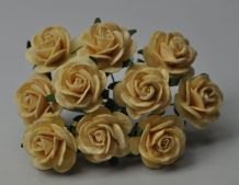 2.5cm CREAM Mulberry Paper Roses (only flower head) (3)